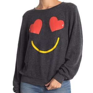 Wildfox Heart Eyes Emoji Pullover Size Small